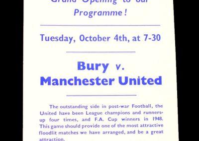 Bury v Man Utd 04.10.1955 (flyer)