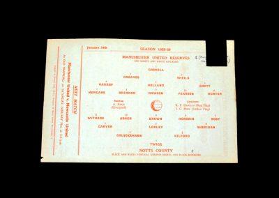 Man Utd Reserves v Notts County Reserves 24.01.1959