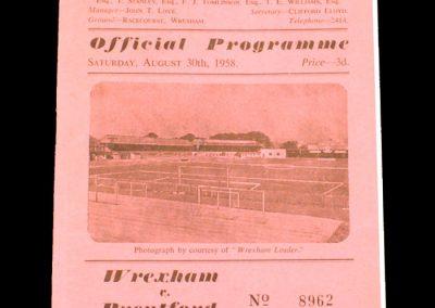 Wrexham v Brentford 30.08.1958