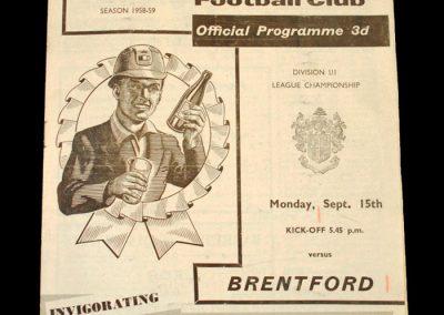 Mansfield v Brentford 15.09.1958
