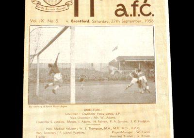Newport v Brentford 27.09.1958
