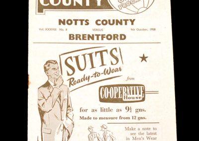 Notts County v Brentford 09.10.1958
