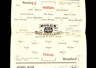 Reading v Brentford 25.10.1958