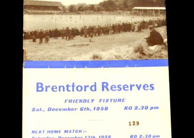 Brentford Reserves v Hastings United 06.12.1958