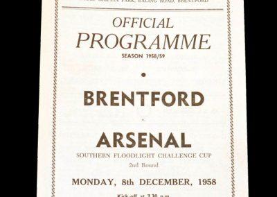 Brentford v Arsenal 08.12.1958 (Southern Floodlit Cup)