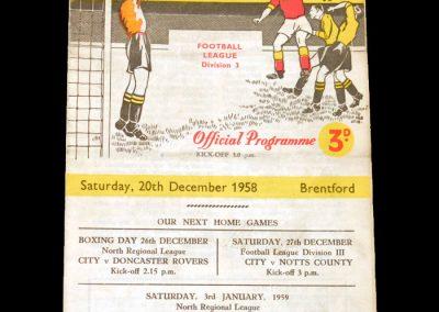Bradford City v Brentford 20.12.1958