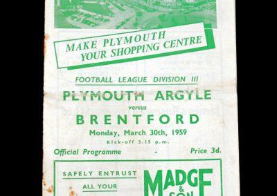 Plymouth v Brentford 30.03.1959