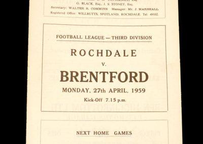 Rochdale v Brentford 27.04.1959