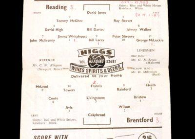 Reading v Brentford 05.09.1959