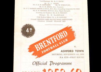 Brentford v Ashford 14.11.1959 - FA Cup 1st Round