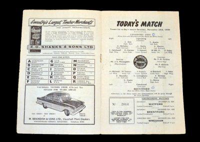 Coventry v Brentford 28.11.1959