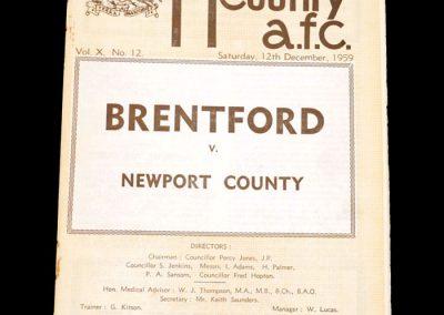 Newport v Brentford 12.12.1959