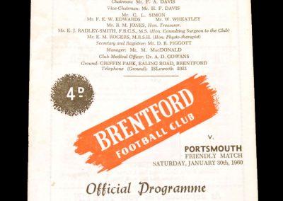 Brentford v Portsmouth 30.01.1960 (Friendly)