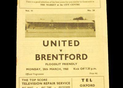 Headington Utd v Brentford 28.03.1960 (Friendly)