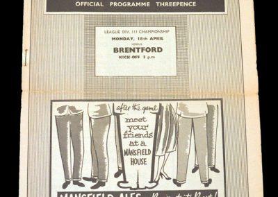 Mansfield v Brentford 18.04.1960