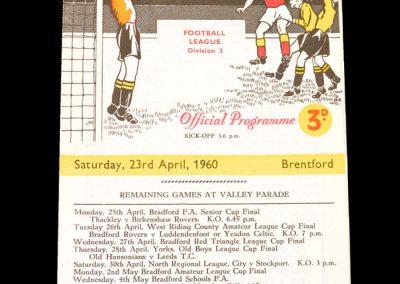 Bradford City v Brentford 23.04.1960