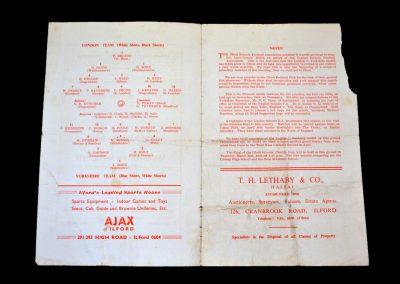 London Boys v Yorkshire Boys 26.03.1955