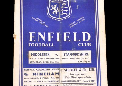 Middlesex v Staffordshire 21.04.1956 - County Youth Cup Final 1st Leg