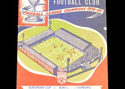 Burnley v Hamburg 18.01.1961 - European Cup Quarter Final 1st Leg