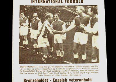 Danish Bronzeholders v England Veterans 01.06.1965