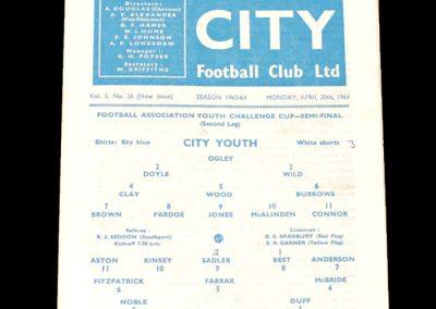Man City Youth v Man Utd Youth 20.04.1964 - FA Youth Cup Semi Final 2nd Leg