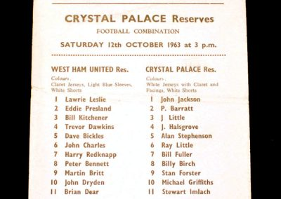 West Ham Reserves v Crystal Palace Reserves 12.10.1963