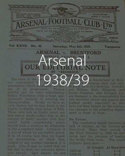 Arsenal 1938 1939 Season
