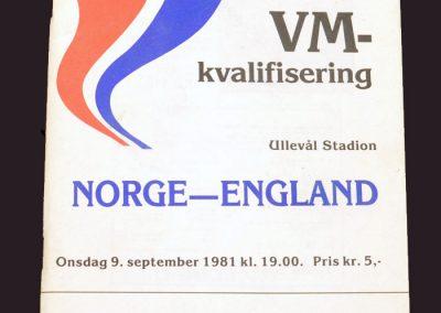 Norway v England 09.09.1981