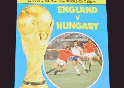 England v Hungary 18.11.1981