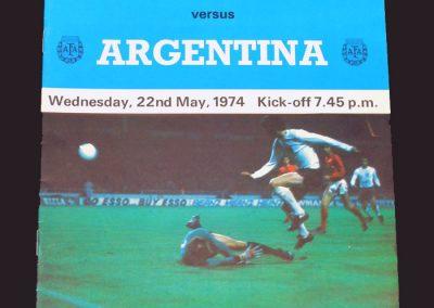 England v Argentina 22.05.1974