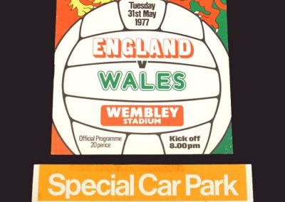 England v Wales 31.05.1977 (with car park ticket)