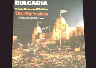England v Bulgaria 21.11.1979