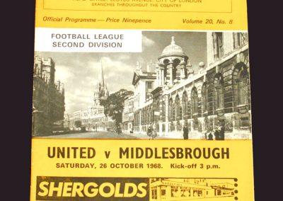 Oxford United v Middlesbrough 26.10.1968