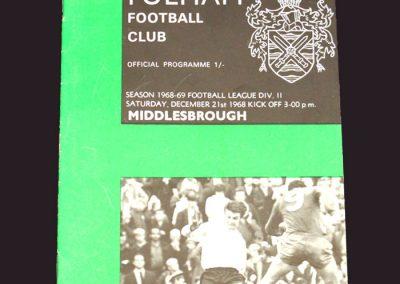 Fulham v Middlesbrough 21.12.1968