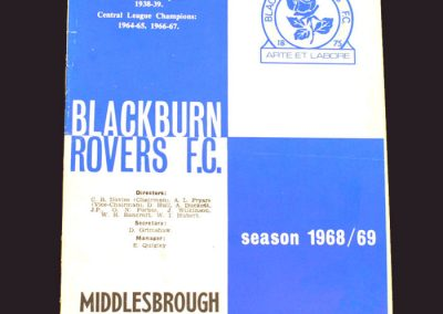 Blackburn v Middlesbrough 25.03.1969 (note this version does not have the date printed on cover)