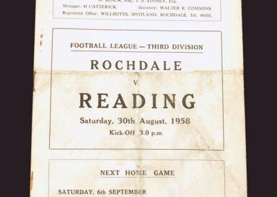 Rochdale v Reading 30.08.1958