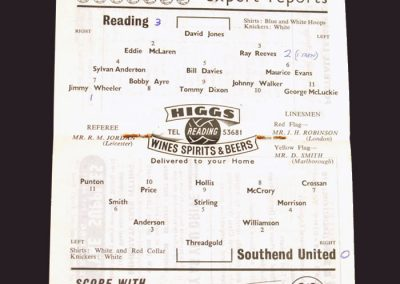 Reading v Southend Untied 03.09.1958