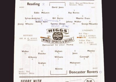 Reading v Doncaster Rovers 06.09.1958