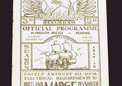 Plymouth v Reading 13.09.1958