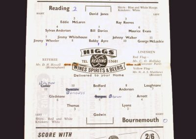 Reading v Bournemouth and Boscombe 17.09.1958