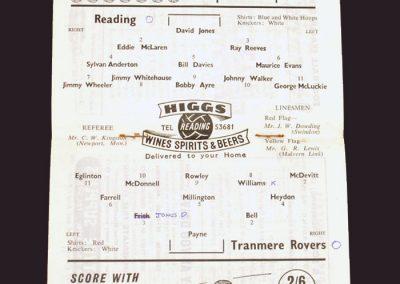 Reading v Tranmere 20.09.1958