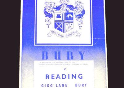 Bury v Reading 22.09.1958