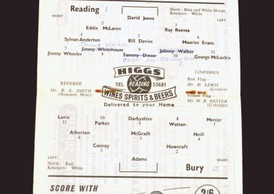 Reading v Bury 29.09.1958