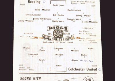 Reading v Colchester 08.10.1958