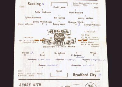 Reading v Bradford City 11.10.1958