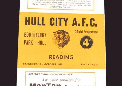 Hull v Reading 18.10.1958