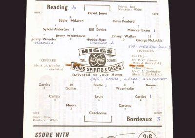 Reading v Bordeaux 22.10.1958 (Friendly)