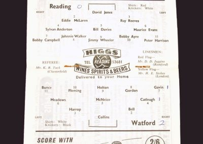 Reading v Watford 19.11.1958 - FA Cup 1st Round Replay