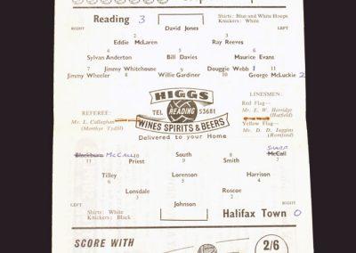Reading v Halifax Town 22.11.1958