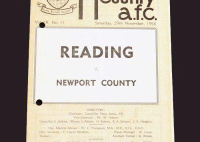 Newport County v Reading 29.11.1958